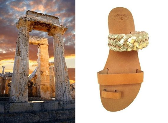 Toe Ring Sandals Strappy Sandals Gold Braided Sandal by OhSoGreek