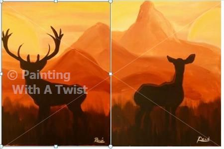 COUPLES! Deer and Doe (Singles Welcome) - Austin (Lakeway), TX Painting Class - Painting with a Twist