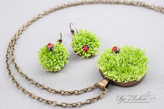 Set of jewelery with spring green grass and ladybirds from polymer clay. Necklace and earrings with grass from the cold porcelain