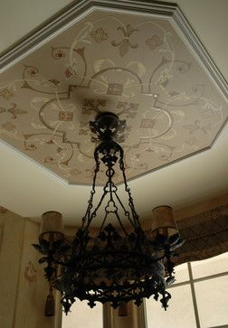 Italian Ornament Design for a Breakfast Room Ceiling, Stemming from Chandelier designed and painted by artist Allison Cosmos