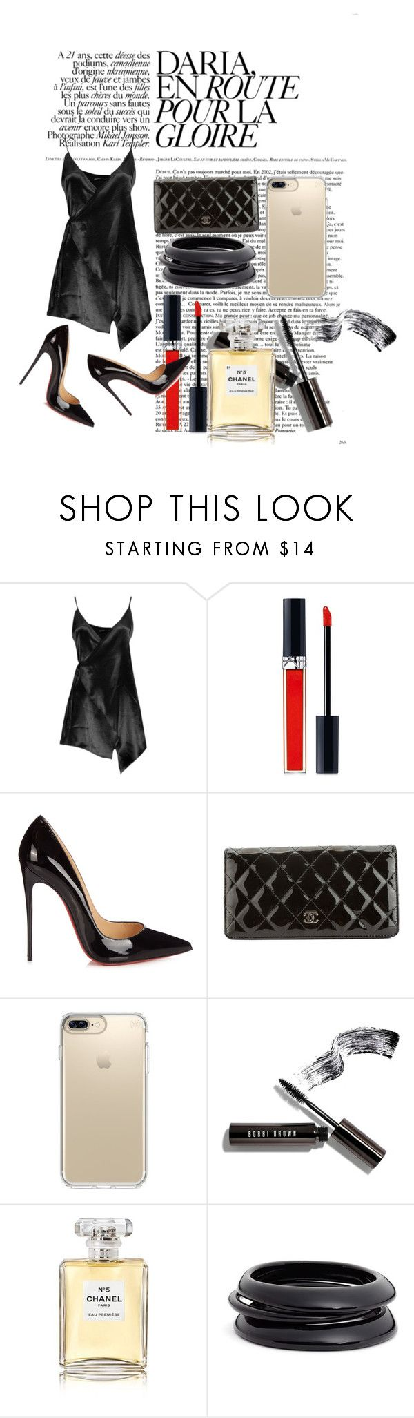 """""""In My Lil Black Dress"""" by veewers ❤ liked on Polyvore featuring Boohoo, Christian Dior, Christian Louboutin, Chanel, Speck, Bobbi Brown Cosmetics, ZENZii, men's fashion and menswear"""