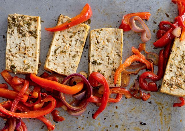 Citrus-Marinated Tofu with Onions and Peppers  Serve with warm tortillas or rice to make a heartier meal.