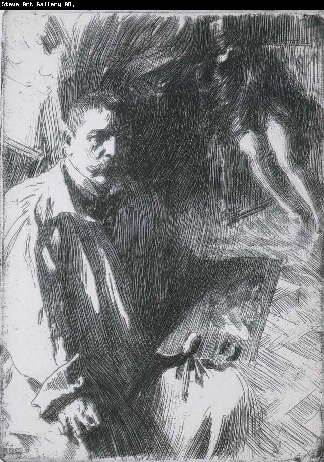 Anders Zorn Self Portrait with Model II, etching
