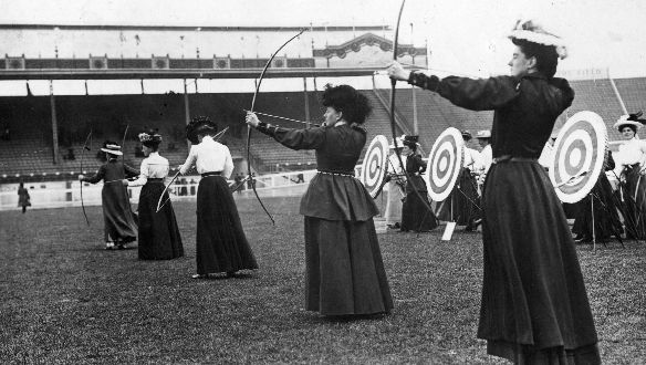 Women archers participating in the National Round (60 yards-50 yards) at the 1908 London Olympics