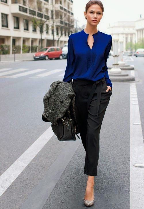 With zara black pants cobalt top and and lamb pumps (python)I like the outfit, but not the python shoes.