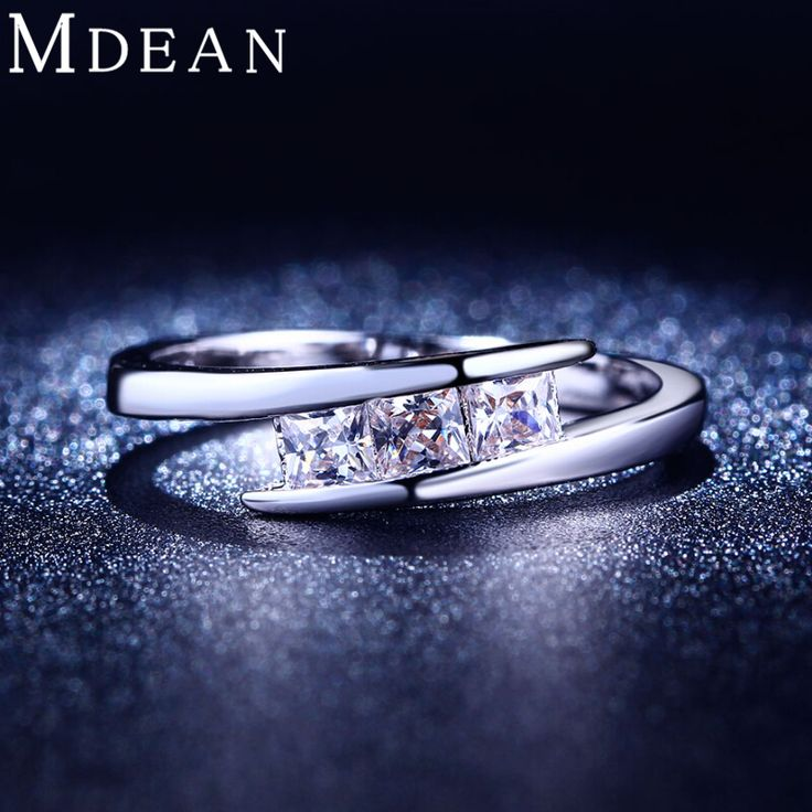 MDEAN White gold plated ring AAA Zircon cz diamond Engagement jewelry   Classic Round Wedding rings for women MSR215