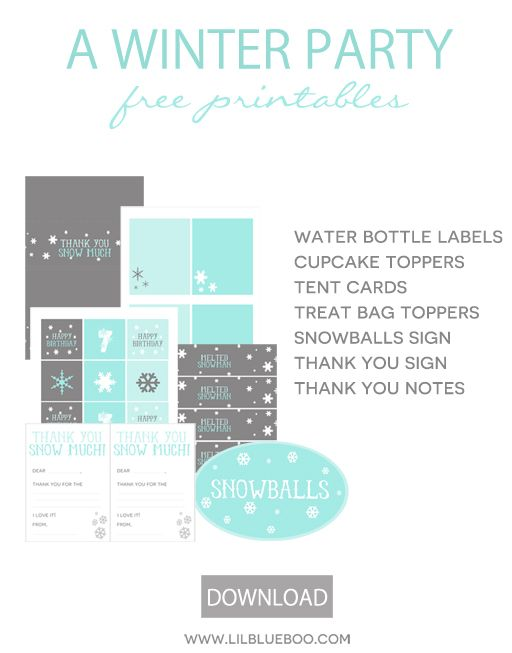 Free Birthday Party Printables for a Frozen Winter Snowflake Birthday Party in Turquise, Blue, Grey and White via Ashley Hackshaw / lilblueb...