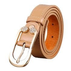 #Banggood Женщины дамы второй слой кожаный ремень алмаз талии ремень металлический штырь пряжка платье сные (1064962) #SuperDeals
