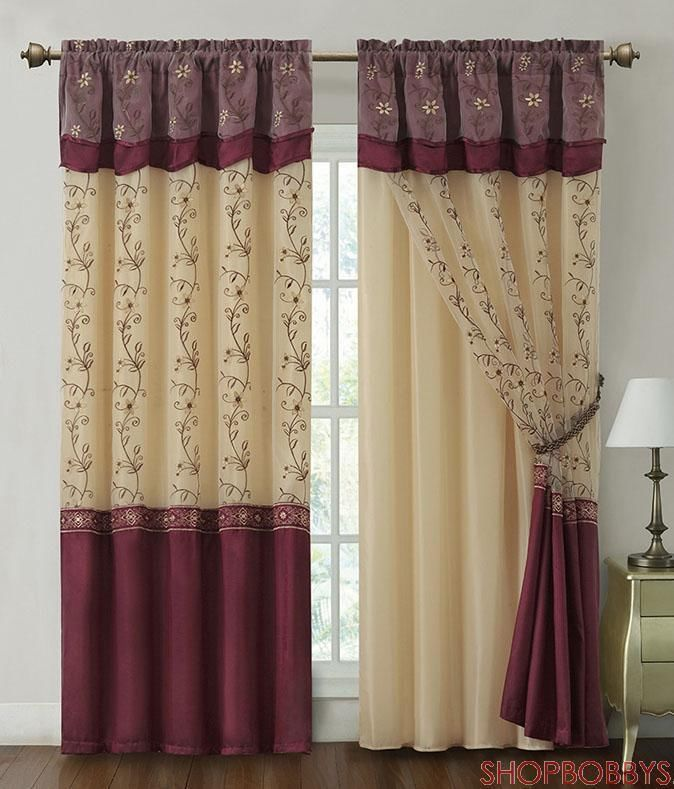 living room window valance ideas%0A This Burgundy Daphne Panel  u     Valance Set by Victoria Classics is perfect