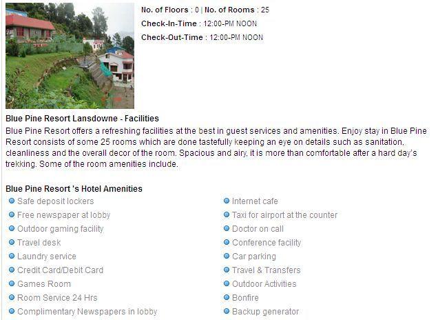 Blue-Pine-Resort ,lansdowne booking services