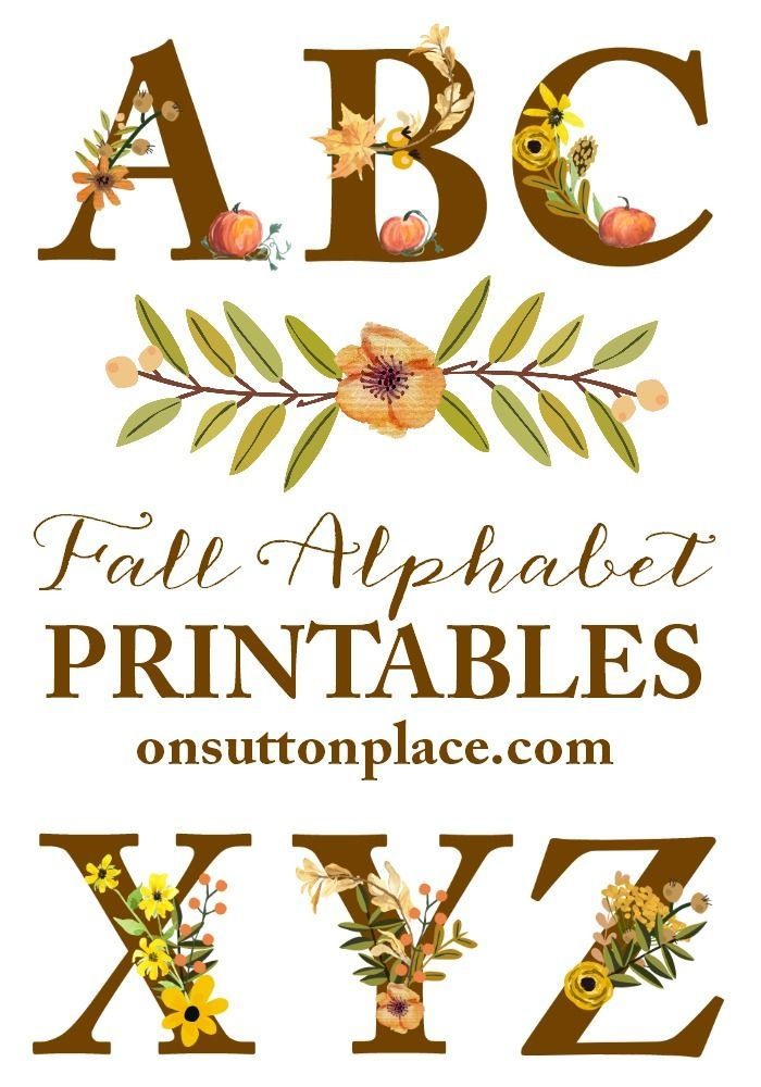 Fall Floral Alphabet Printables   Easy to download individual printables to make…