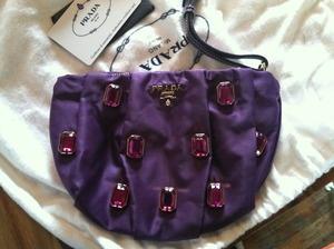 Pretty Pretty Princess grows up and needs a handbag-- Prada Tessuto Pietre jeweled purple wristlet bag