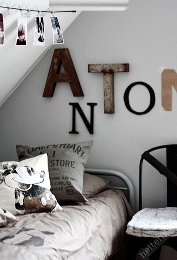 Industrial letters in kids room masons big boy room for Living room 7 letters