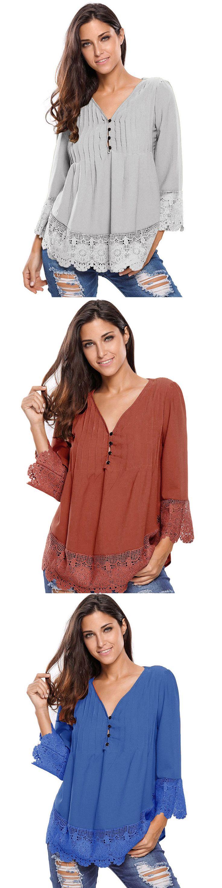 US$18.54 O-Newe Fashion Lace Crochet Stitching V-Neck Blouse For Women