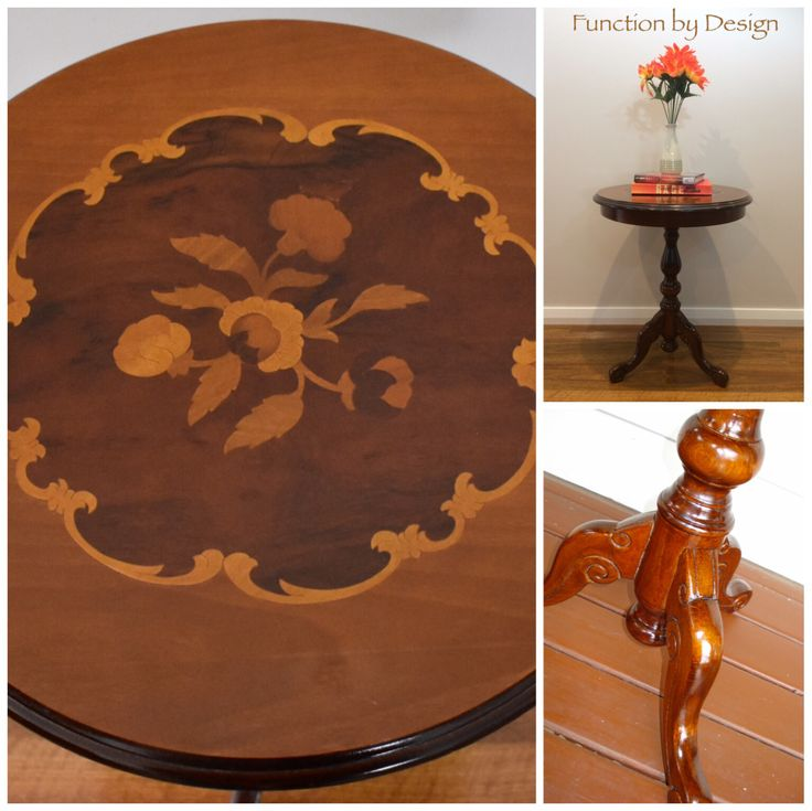 This beautiful ornate side table is a very traditional piece. It has been french polished on both the top and the legs. The top is a veneer which features a lovely floral pattern and the turned legs are made of rock maple. #furniture #frenchpolish #traditional #ornate #table #sidetable #functionbydesign