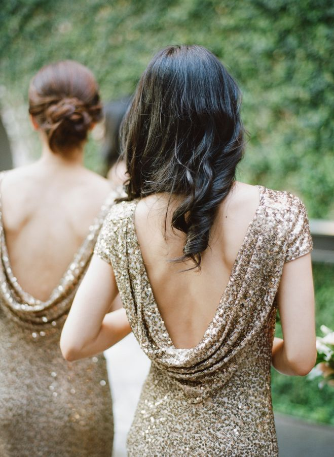 Glam cowl back glittery bridesmaid dresses: http://www.stylemepretty.com/little-black-book-blog/2016/02/16/glamorous-black-tie-wedding-at-the-foundry/ | Photography: Rebecca Yale - http://rebeccayalephotography.com/