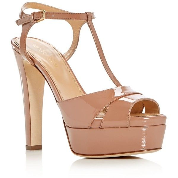 Sergio Rossi Edwige T-Strap High Heel Platform Sandals ($845) ❤ liked on Polyvore featuring shoes, sandals, nude, nude shoes, nude sandals, high heel shoes, t bar shoes and t strap sandals