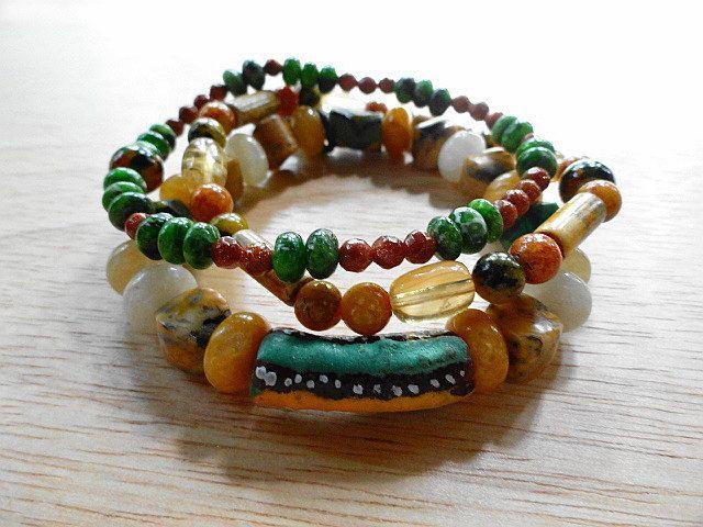 3 Stack Stretch Bracelet Set Chrome Diopside Honey Citrine Yellow Calcite Goldstone Crazy Lace Agate Yellow Azurite Chrysocolla Krobo Beads by StonyMaronyJewelry on Etsy
