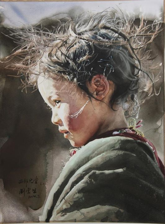watercolor portrait by Liu Yun Sheng. More at link, worth the visit.