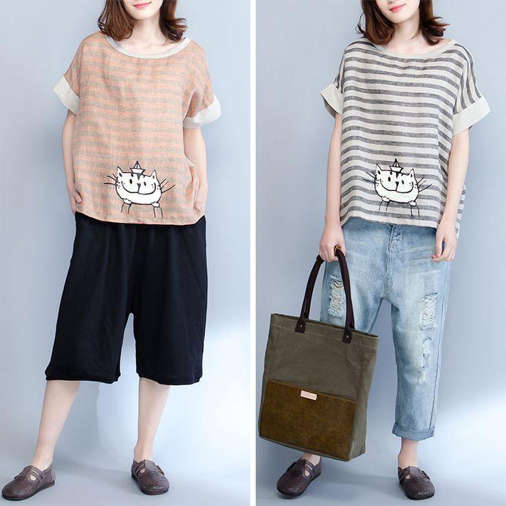 Размер женщин женщин жира mm2018 новой летней корейской версии свободные свободные тонкие художественные полосы вентилятора с короткими рукавами футболки - Taobao
