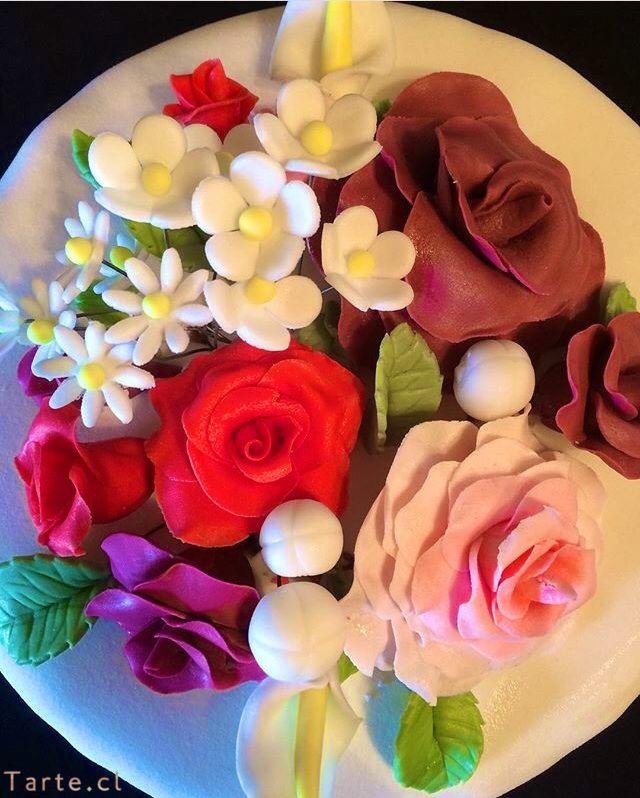 Torta de fondant flores