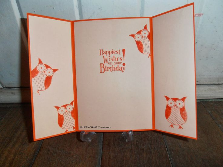 Stampin Up Owl Punch and Punch Bunch - Birthday Card inside - made by Shell