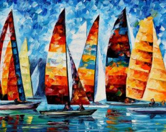 Love By The Lake Palette Knife Abstract by AfremovArtStudio