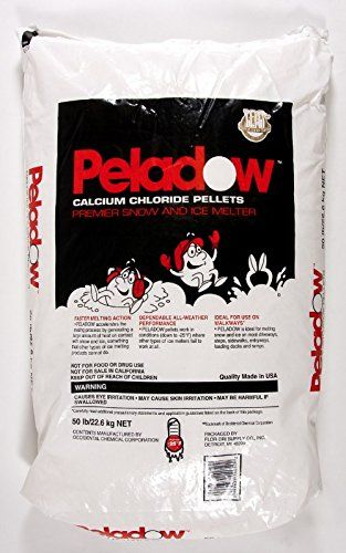 Peladow Ice Melt Calcium Chloride 50 lb Bag  Fastest-acting ice melter at up to -25 ° F (-32 ° C) Safe for use on: Steps - Including granite, concrete, tile & brick; Sidewalks - Bluestone, natural flagging, pavers & pavestone; Driveways - Asphalt, stamped concrete, parking lots Ice melt solution contains 90% calcium chloride that can penetrate ice up to 3 times faster than other compounds....