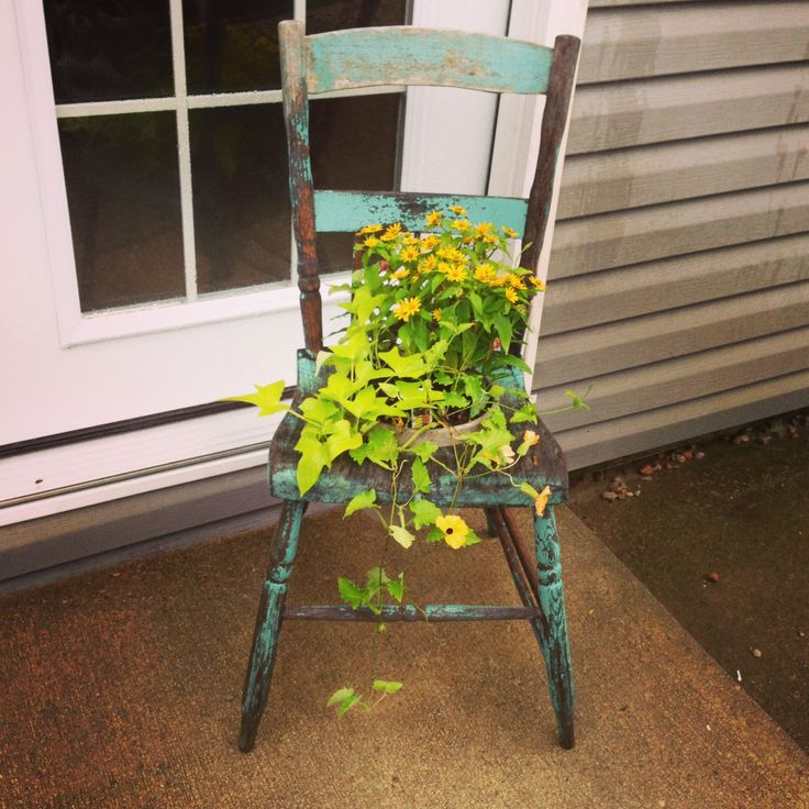 Old Wooden Chair With A Flower Pot Chairs Pinterest