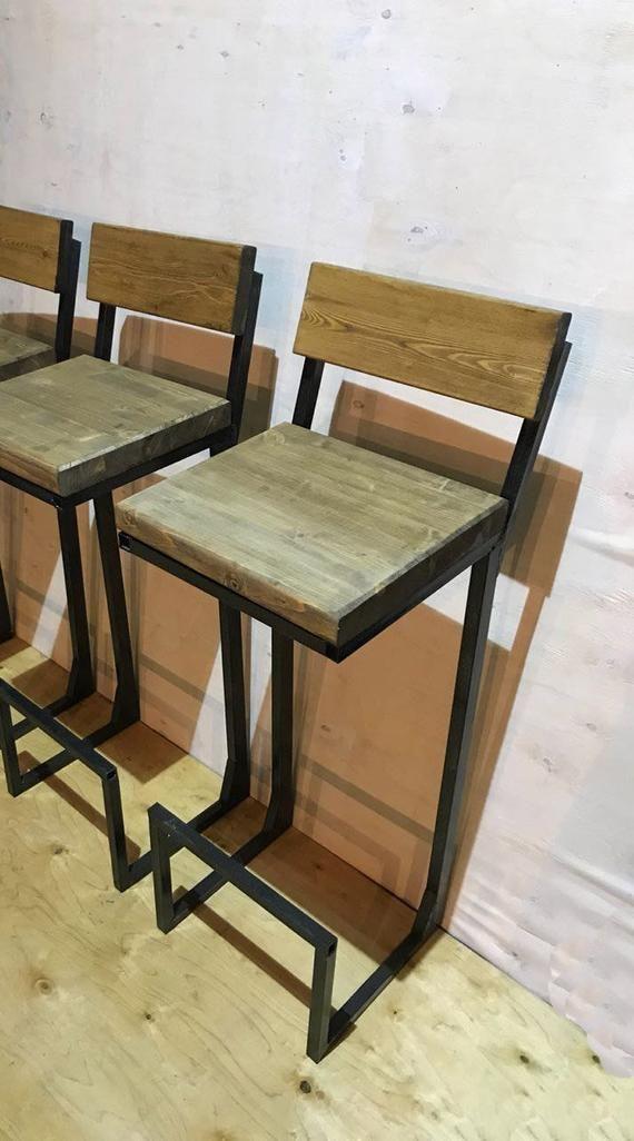 Height 13 40in 33 99cm Wood Metal Stool Etsy Wood Metal Stool Metal Stool Bar Stools