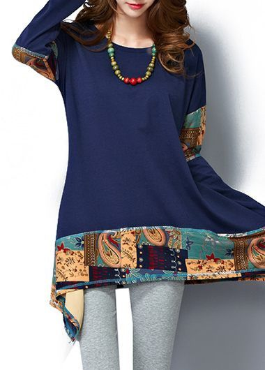 Batwing Sleeve Asymmetric Printed Royal Blue T Shirt on sale only US$29.12 now, buy cheap Batwing Sleeve Asymmetric Printed Royal Blue T Shirt at modlily.com