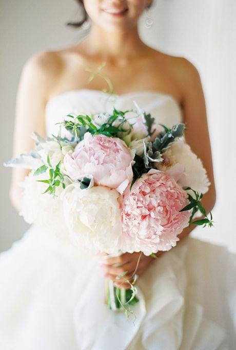 Pink and White Peony Wedding Bouquet | Photo by Jose Villa