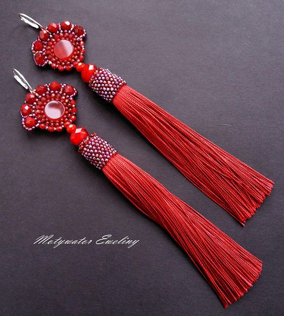 Agate in Red Earrings with Long Tassels and Red Agate