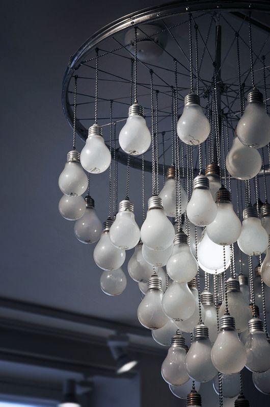 A Chandelier made of light bulbs