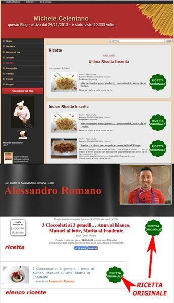 Ricette d'Autore e Ricette Originali con rilascio Dichiarazione di paternità GRATIS su spaghettitaliani