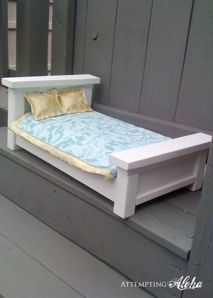 Easy farmhouse doll bed | Pippys American Girl Doll Ideas | Pinterest