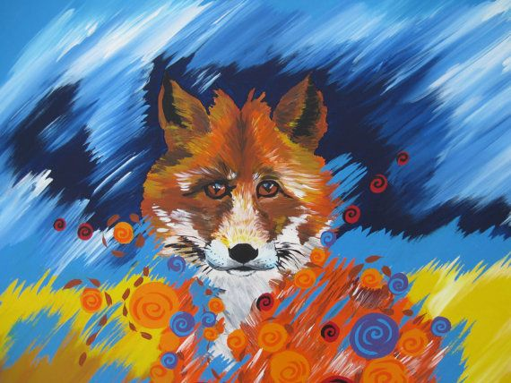 fox, foxes, painting of a fox, modern art, amazing art,, spirit animal,  fox art, painting , paintngs, by SheerJoy