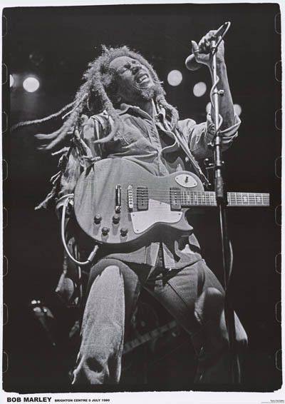 A great poster of reggae legend Bob Marley with natty dreads! Jammin' at the Brighton Centre in July of 1980, shortly before he passed away. Ships fast. 24x34 inches. Check out the rest of our Irie se