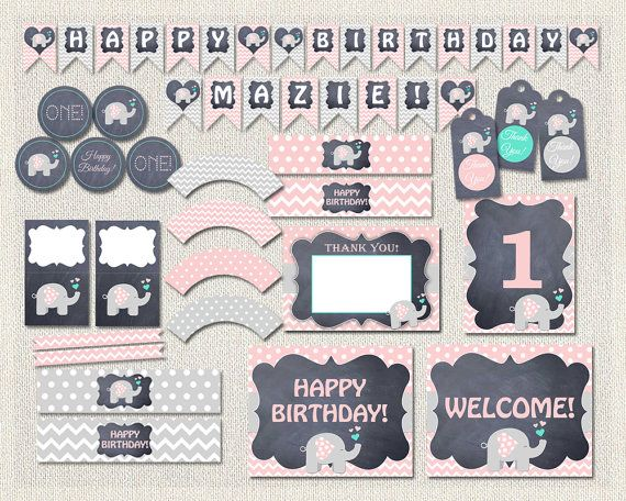 Elephant Printable Party Package Pink by PixiePerfectParties