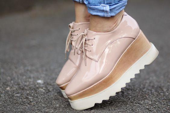 nude platform oxford shoes | Sandra Bendre