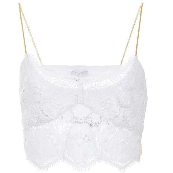 Miguelina Zoe Lace Cropped Top ($320) ❤ liked on Polyvore featuring tops, white, white crop tops, white tops, lace crop top, lacy tops and white strappy top