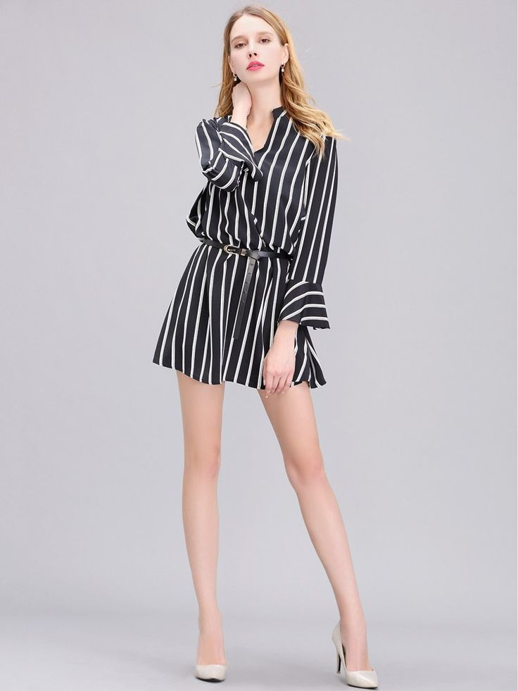 $38.50        Women Chiffon Long Sleeve Black And White Stripe Slim Dress is simply elegant and sexy at the same time. It is such a light beautiful dress for this spring and summer.    #CHIFFONDRESSES #SPRINGDRESSES #SUMMERDRESSES #WOMENDRESSES #WOMENFASHION