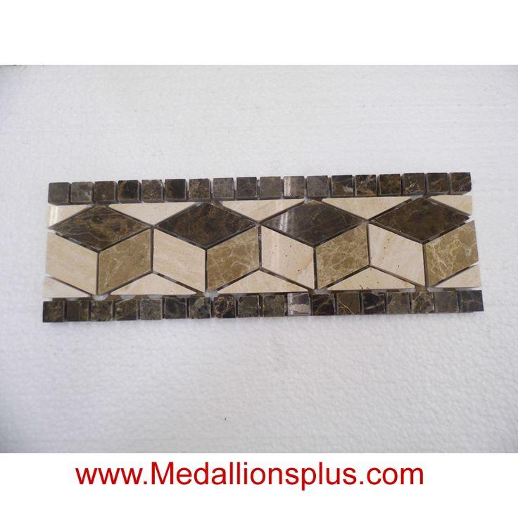 Granite And Marble Ii Polished Tile Border 4 X 12 Medallionsplus Com Floor Medallions On Sale Tile Mosaic Floor Medallion Marble Granite Stone Inlay