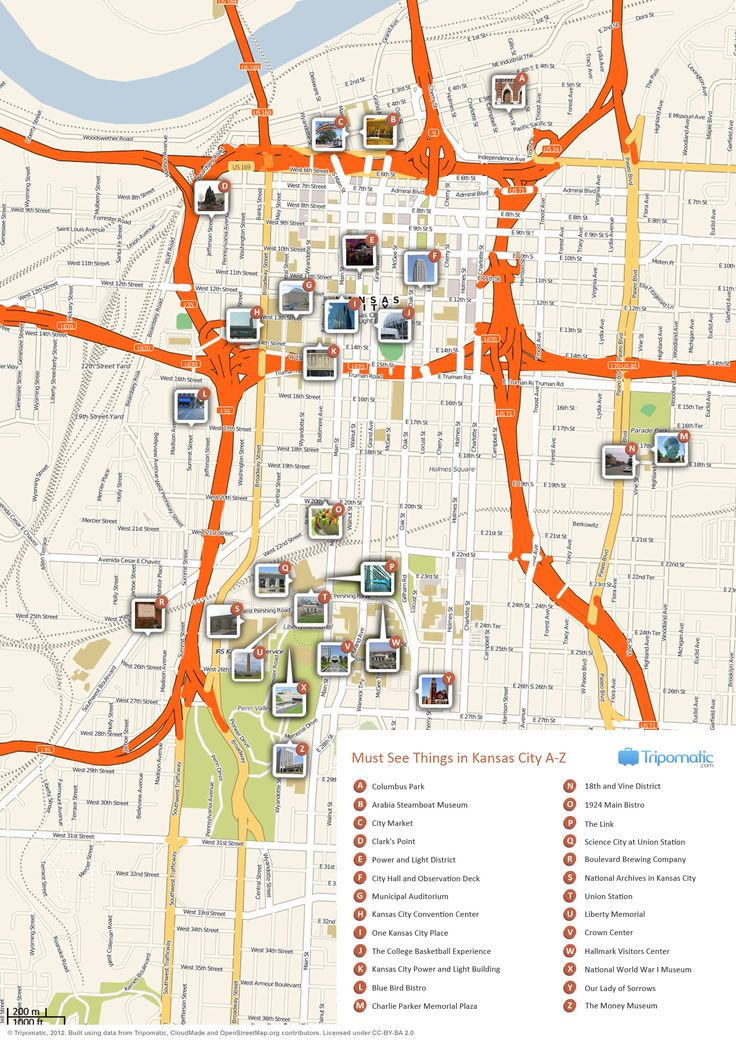 Free Printable Map of Kansas City attractions from Tripomatic.com. Get the high-res version at http://www.tripomatic.com/United-States/Missouri/Kansas-City/#tourist-map