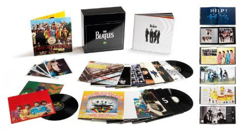 The Beatles Stereo Vinyl Box Set   The Beatles Stereo Vinyl Box Set  Albums included:   Please Please Me  With The Beatles  A Hard Day's Night  Beatles For Sale  Help!   Rubber Soul  Revolver  Sgt. Pepper's Lonely Hearts Club Band  Magical Mystery Tour  The Beatles (The White Album) (2LP)   Yellow Submarine  Let It Be  Abbey Road  Past Masters (2LP) The Beatles' acclaimed original studio album remasters, released on CD in 2009, make their long-awaited stereo vinyl debut.  Manufacture..