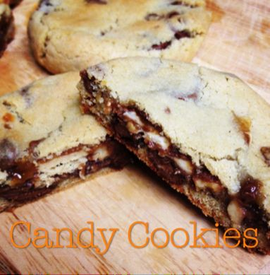 Snickers (or any other candy bar) #Cookies #Recipe: Leftover Halloween, Chocolates Chips Cookies, Leftover Candy, Halloween Candy, Candy Cookies, Sweet Tooth, Halloween Treats, Bar Cookies, Halloween Cookies