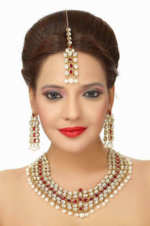 Indian Elegant Bridal Red Stone Gold Plated Kundan Party Wear Necklace Set #DoesNotApply #Wedding