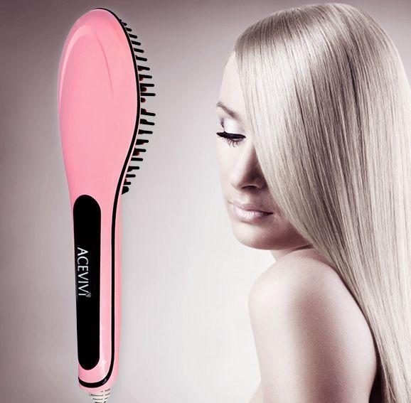 Women's Electric Hair Straightener Comb Heating Detangling Hair Brush Pink
