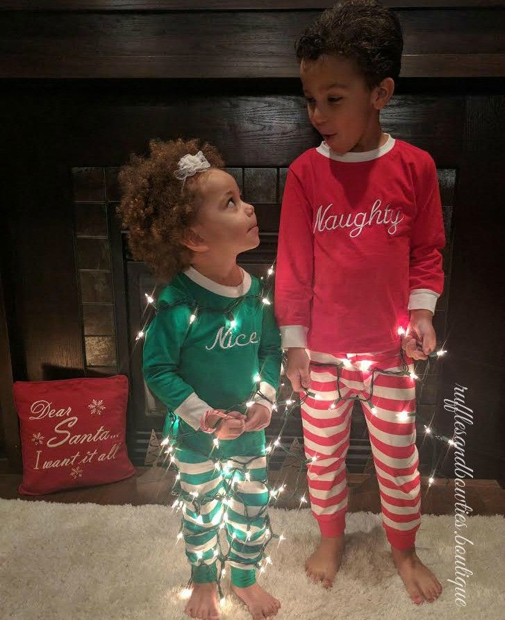 sissy you need to do this with the girls...lol so cute! Naughty & Nice Matching Christmas Pajamas - 2 Pc Kids Pajamas - 2 Pc Christmas Kids PJs - Sibbling Matching PJS