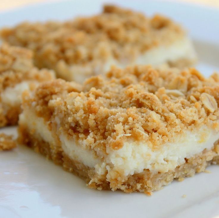 Creamy Lemon crumb squares 1 ⅓ cup all-purpose flour ½ teaspoons salt 1 teaspoon baking powder 1 stick (1/2 cup) butter, slightly softened 1 cup brown sugar (lightly packed) 1 cup oats 1 can (14 ounce) sweetened condensed milk ½ cups lemon juice zest of 1 lemon Preheat oven to 350 degrees. Mix butter and brown sugar until well combined. Sift together flour, salt, and baking powder. Add oats and fl...